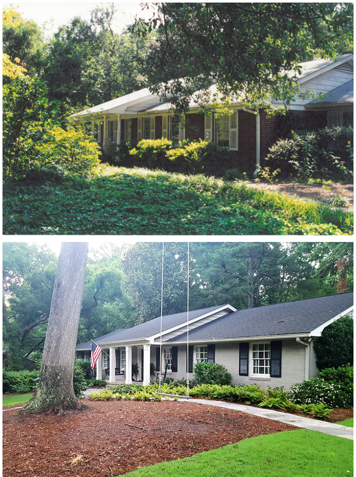 Rebirth Our 1960s Ranch House Renovation Transforming The Front Elevation Redeem Your Ground Brick Exterior House Exterior House Remodel Ranch House Remodel