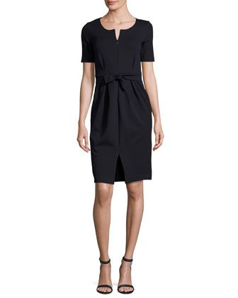 Milano+Jersey+Belted+Short-Sleeve+Dress,+Midnight+by+Armani+Collezioni+at+Neiman+Marcus.