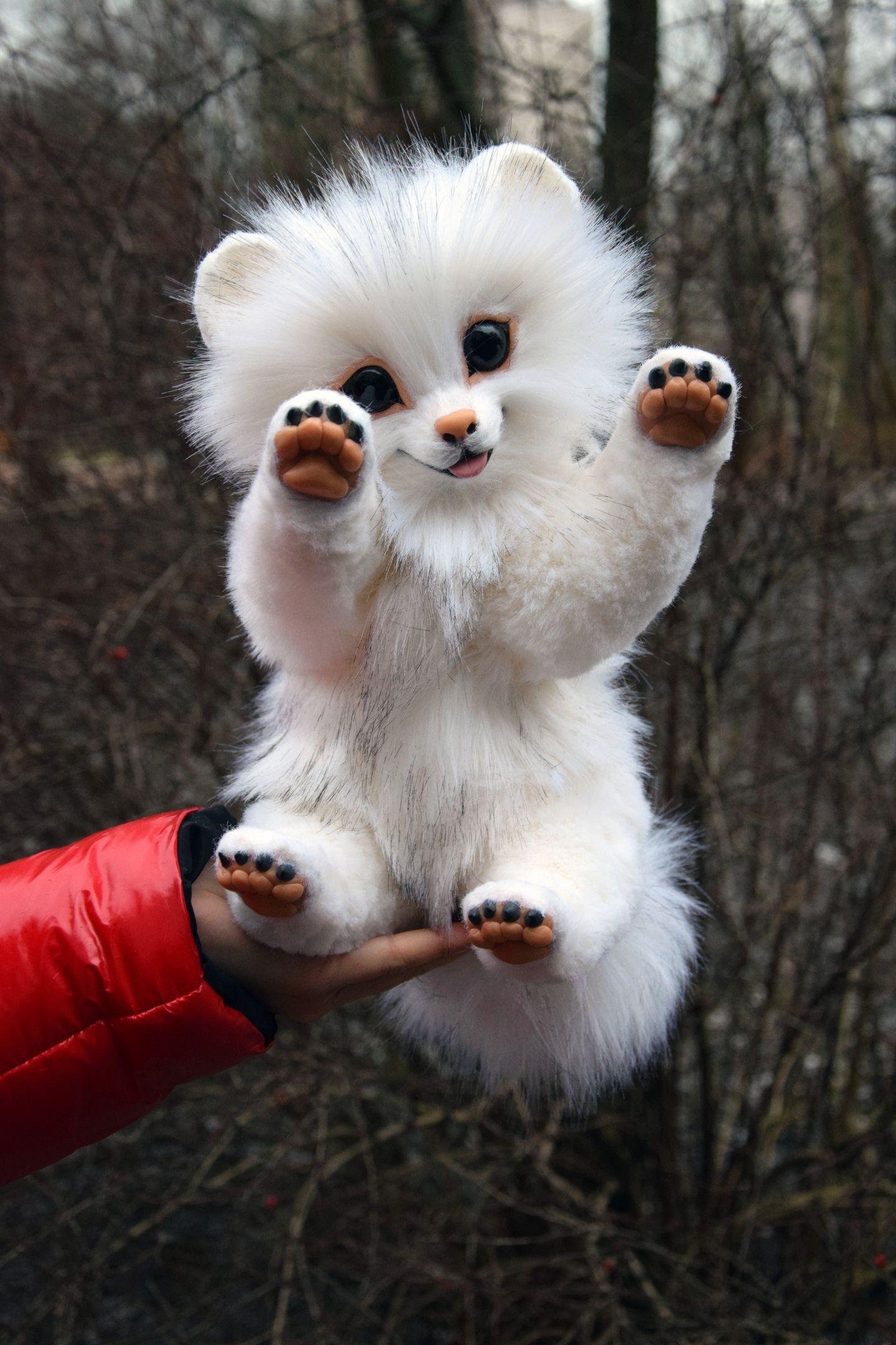 White Pomeranian Puppy Dog, Fantasy creatures & pets toys