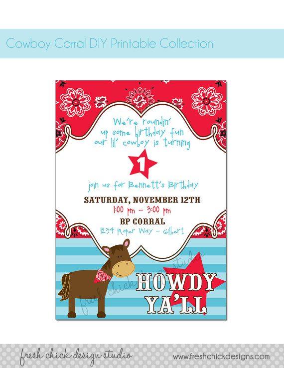 Cowboy Horse Western Printable Birthday Party by PetitePartyStudio - fresh birthday party invitation designs