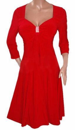 KH1 FUNFASH APPLE RED 3/4 SLEEVE EMPIRE WAIST COCKTAIL DRESS NEW Plus Size Made in USA REVIEW