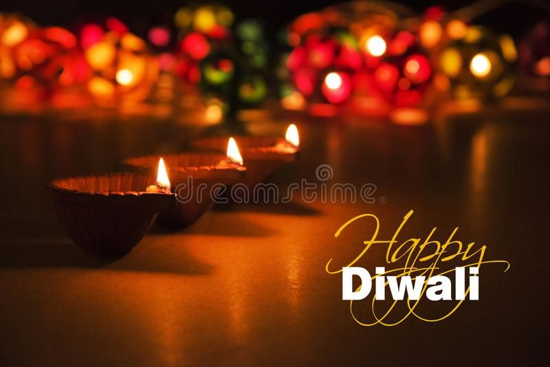 Happy Diwali - Diwali Greeting Card With Illuminated Diya Stock Image - Image of diwali, greetings: 101317193