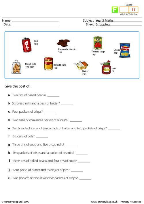 Primaryleap Shopping Worksheet Shopping Pinterest