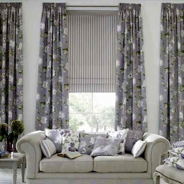 salon contemporain et dco gris avec rideaux