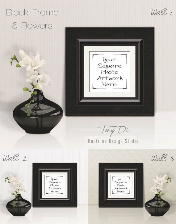 Framing A 10x10 Room: Blank Square Frame Mockup Bundle, 10x10 White Black