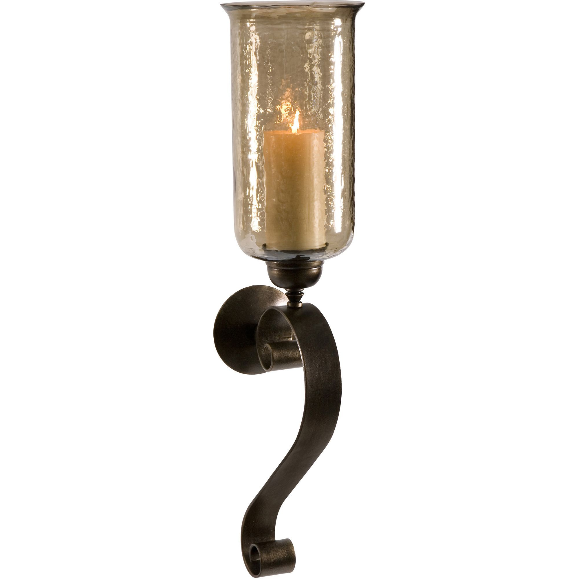 Medium Scroll Base Wall Sconce Candle With Brown Luster Glass Wall