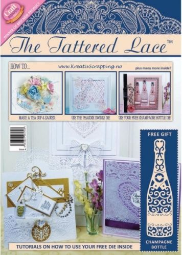 THE TATTERED LACE MAGAZINE - ISSUE 4 Inspirasjonblad på engelsk. Det følger med gratis dies til bladet.  Tattered Lace-Magazine Issue. Essential reading for beginners and seasoned crafters alike! Every magazine issue is lovingly written and edited by Nancy Watt, a talented and popular craft demonstrator turned magazine editor from the UK. You will find a wide range of information and crafting tips throughout this must-have magazine for your next project! This package contains one Tat...
