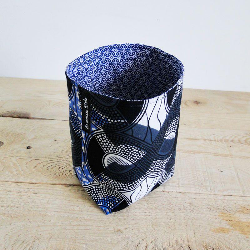 panier wax bleu corbeille tissu rigide wax africain. Black Bedroom Furniture Sets. Home Design Ideas