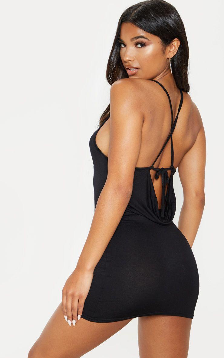 Black Strappy Tie Cowl Back Bodycon Dress Bodycon Dress Mini Shirt Dress Dresses [ 1180 x 740 Pixel ]