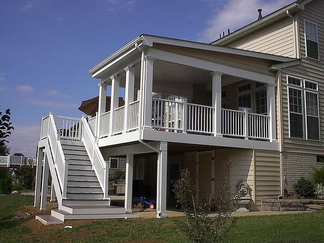 Shed style roof over deck decking porch and screened for Shed roof screened porch plans