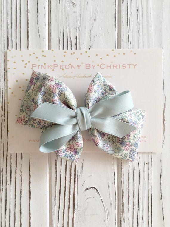 MInt Fabric hairbow- mint hair bows-fabric bow-mint flower bow-baby headband-floral fabric hair bow- fabric bow- -schoolgirl hairbow