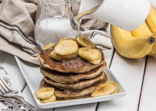 Coconut Vegan Pancakes with Maple Bananas - The Scrumptious Pumpkin