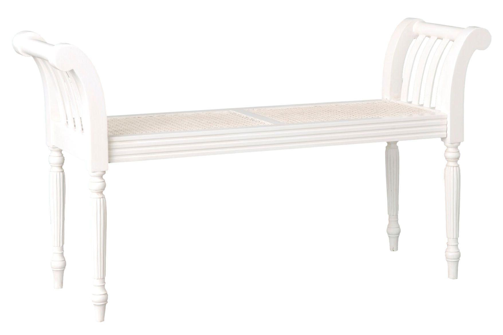 Banc Bout De Lit Bois Et Cannage Blanc Mobilier De Salon Cannage Decoration Maison