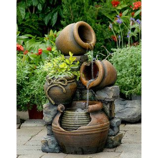 Shop For Multi Pots With Flower Pot Outdoor Water Fountain. Get Free  Shipping At Overstock
