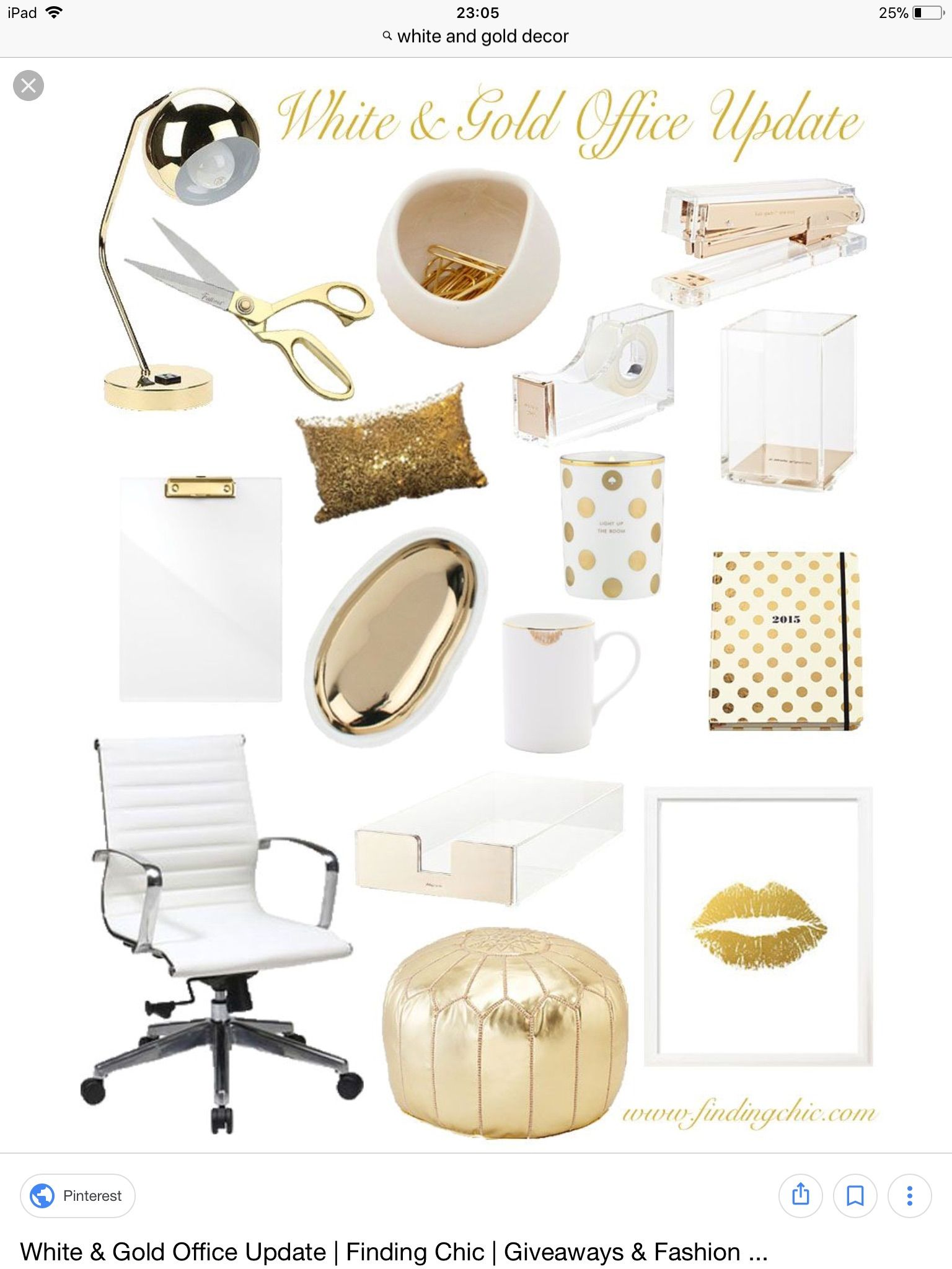 Pin By Angela Caban On Office Gold Office Decor Chic Office Decor White Gold Office