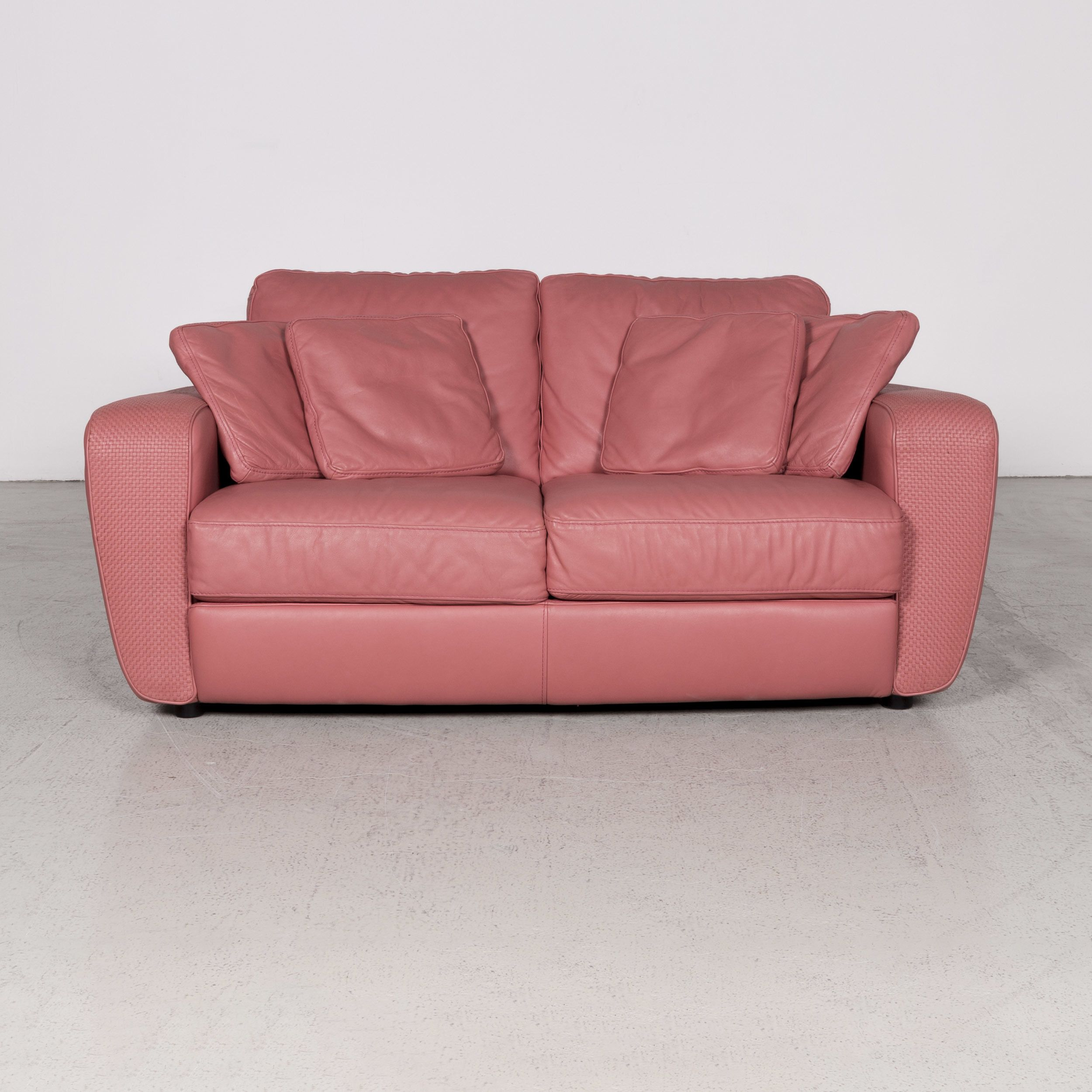 Natuzzi Designer Leather Sofa Red Pink Real Leather Two Seater Couch 7791 Pink Leather Sofas Red Sofa Leather Sofa