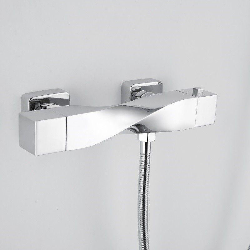 Rak Ceramics Reserva Wall Mounted Thermostatic Bath Shower Mixer Tap With Slider Rail Kit And Handset Bath Shower Mixer Taps Bath Shower Mixer Stylish Bathroom