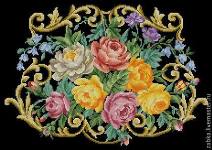 Купить или заказать Сумочка с розами в интернет-магазине на Ярмарке Мастеров. Реконструкция старинной схемы для вышивки крестом 19 в. Подбор цветов по живой палитре ДМС Размер 222*154 стежка 43 цвета. Размер готовой вышивки на 14 каунте 40*28 см. Подходит для вышивки бисером Высылаю схему в формате пдф, jpeg в цветном и чернобелом варианте.