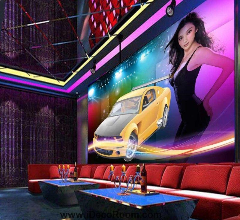 Sexy Frau mit gelben Rennwagen Kunst Wandtapeten Decals druckt Dekor