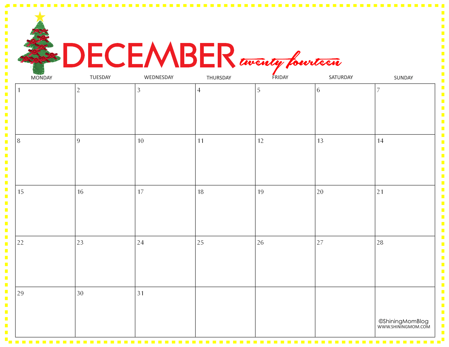 December 2014 Calendar With Holidays