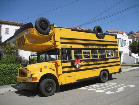 the wheels on the bus are upside down upside down upside down whats with that car pinterest school buses cars and funny cars
