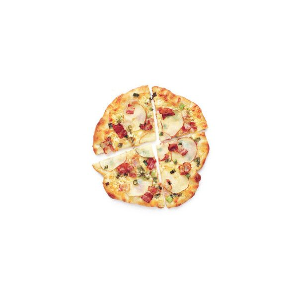 Potato and Bacon Pizzas ❤ liked on Polyvore featuring food, food and drink and fillers
