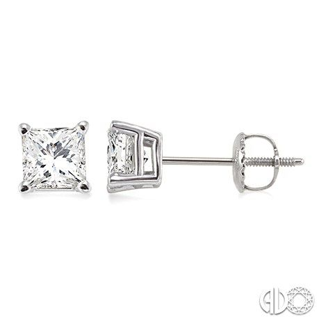 Princess Cut Diamond Stud Earrings 1 5 Carat Total Weight