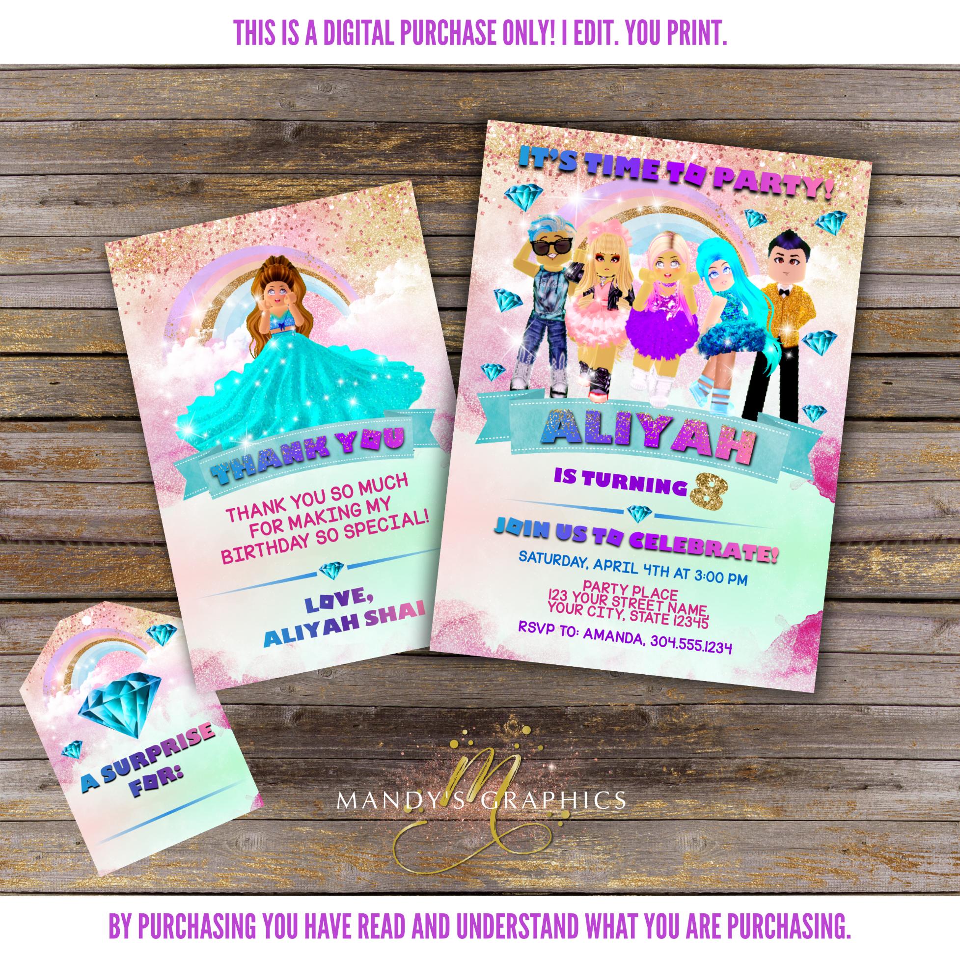 Roblox Girl Birthday Party Roblox Generator 32 Roblox Royale High Birthday Invitation In 2020 Birthday Invitations Digital Invitations Birthday