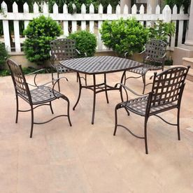 International Caravan 5 Piece Patio Dining Set Santa Fe Nailhead Collection Wrought Iron Square Table 4 Chairs Lowe S
