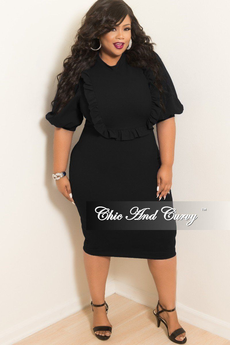 d8eac9010a88 New Plus Size BodyCon Dress with Ruffle Trim and Back Gold Zipper in Black