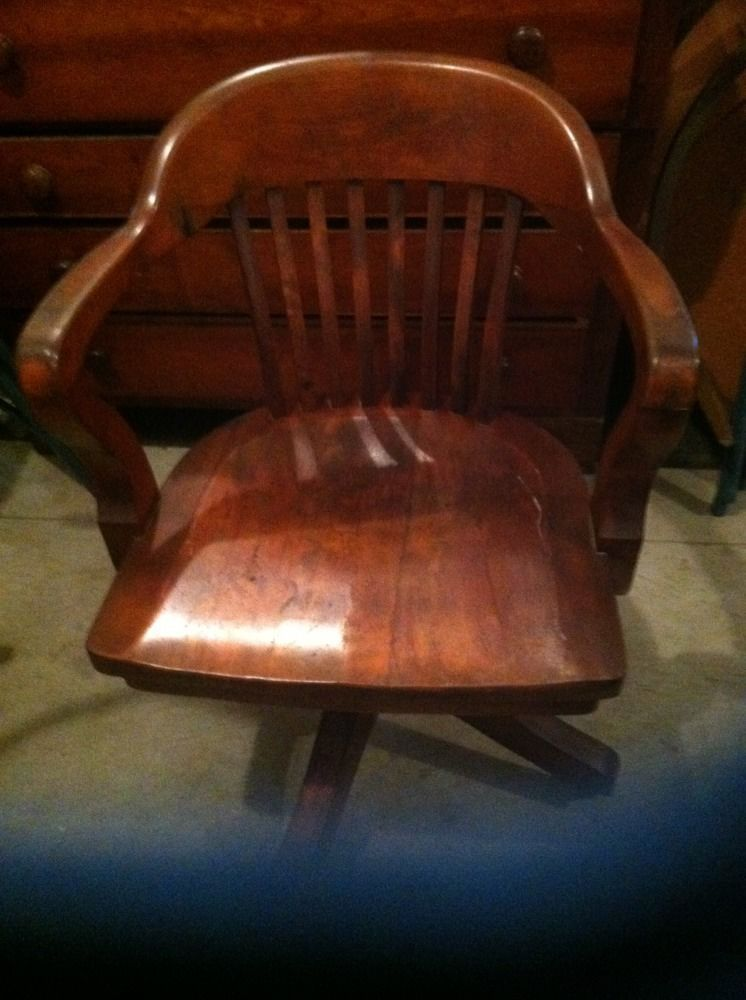 Vintage Solid Oak Swivel Desk Chair | EBay