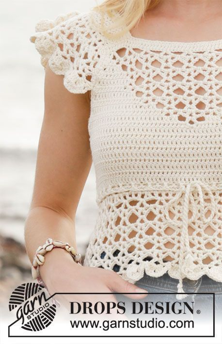 California Dream / DROPS 190-21 - Crocheted top with lace pattern ...