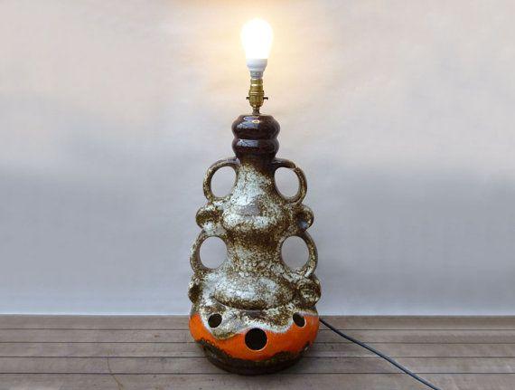 Fat Lava Lamp, Retro Floor Lamp, Fat Lava Pottery Lamp, 1960s Lighting,  1960s Lamp, West German Art Pottery, Vintage Fat Lava, Table Lamp