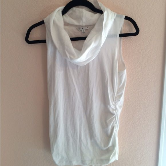White sleeveless cowl neck ruched tank top In good condition, no flaws. Ruched at the bottom on one side. White. CAbi Tops Tank Tops