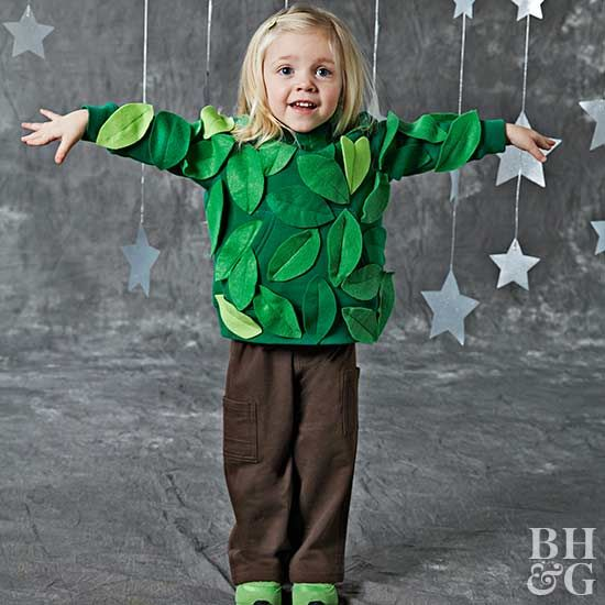 Halloween Fericit · Costume · Stitch felt leaves to a plain green sweatshirt and pair with brown sweatpants for this cute  sc 1 st  Pinterest & Easy-to-Make Kidsu0027 Halloween Costumes