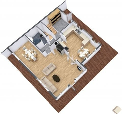 3d floor plan for multiple room house with stairs to for Hardwood floor plans
