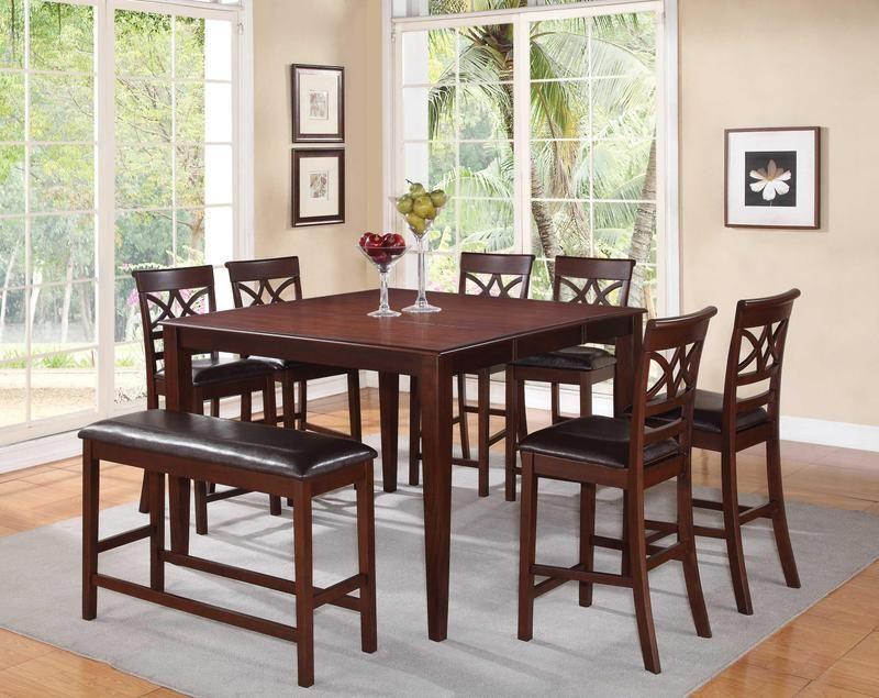8 Pc Cherry Wood Counter Dining Set Table Chairs Bench Leather