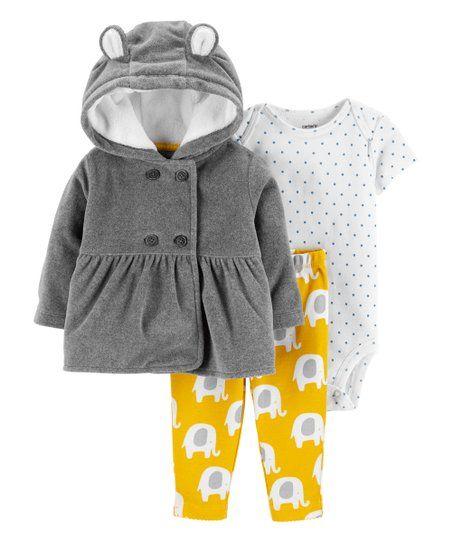 0d2501cc6caf Carters Gray Elephant Hooded Cardigan Set - Newborn   Infant ...
