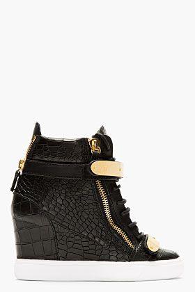 size 40 a4f94 86b62 Giuseppe Zanotti Black Croc-embossed Loren Z75 Wedge Sneakers for women    SSENSE