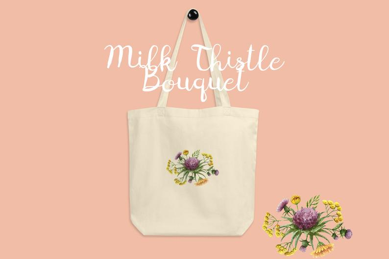 Thistle Flower Bouquet Tote Bag Canvas Tote Bag Canvas Tote Etsy