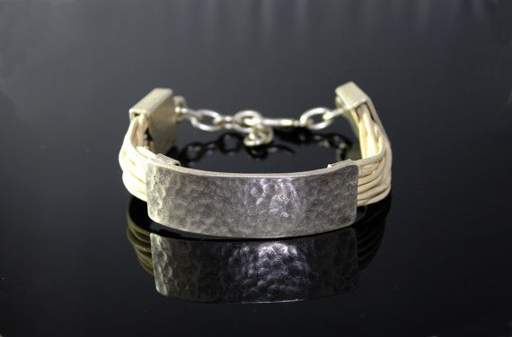 Genuine Leather beige hammered bracalet FREE SHIPPING by minakaja, $24.90