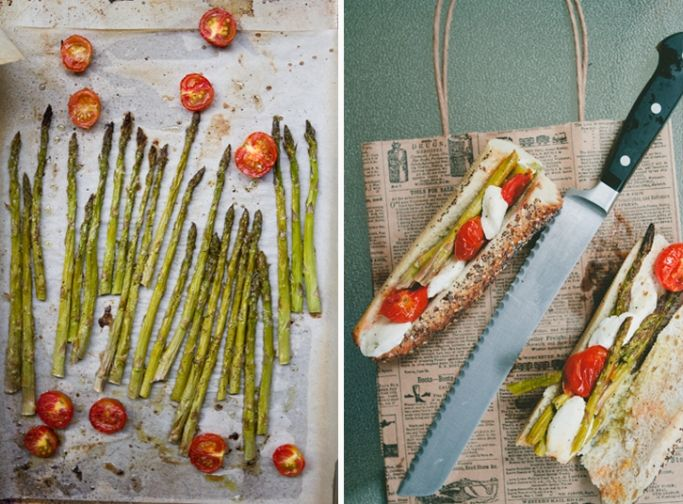 Roasted Asparagus and Cherry Tomato Sandwich