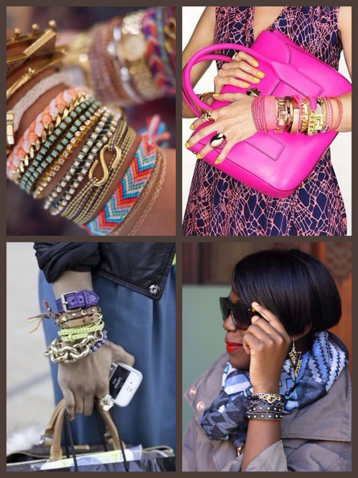40+ piled up bracelet look. It's all about choice. Avoid the woven tatty teen look. Choose carefully. Mix in with a chunky or skinny metal watch.