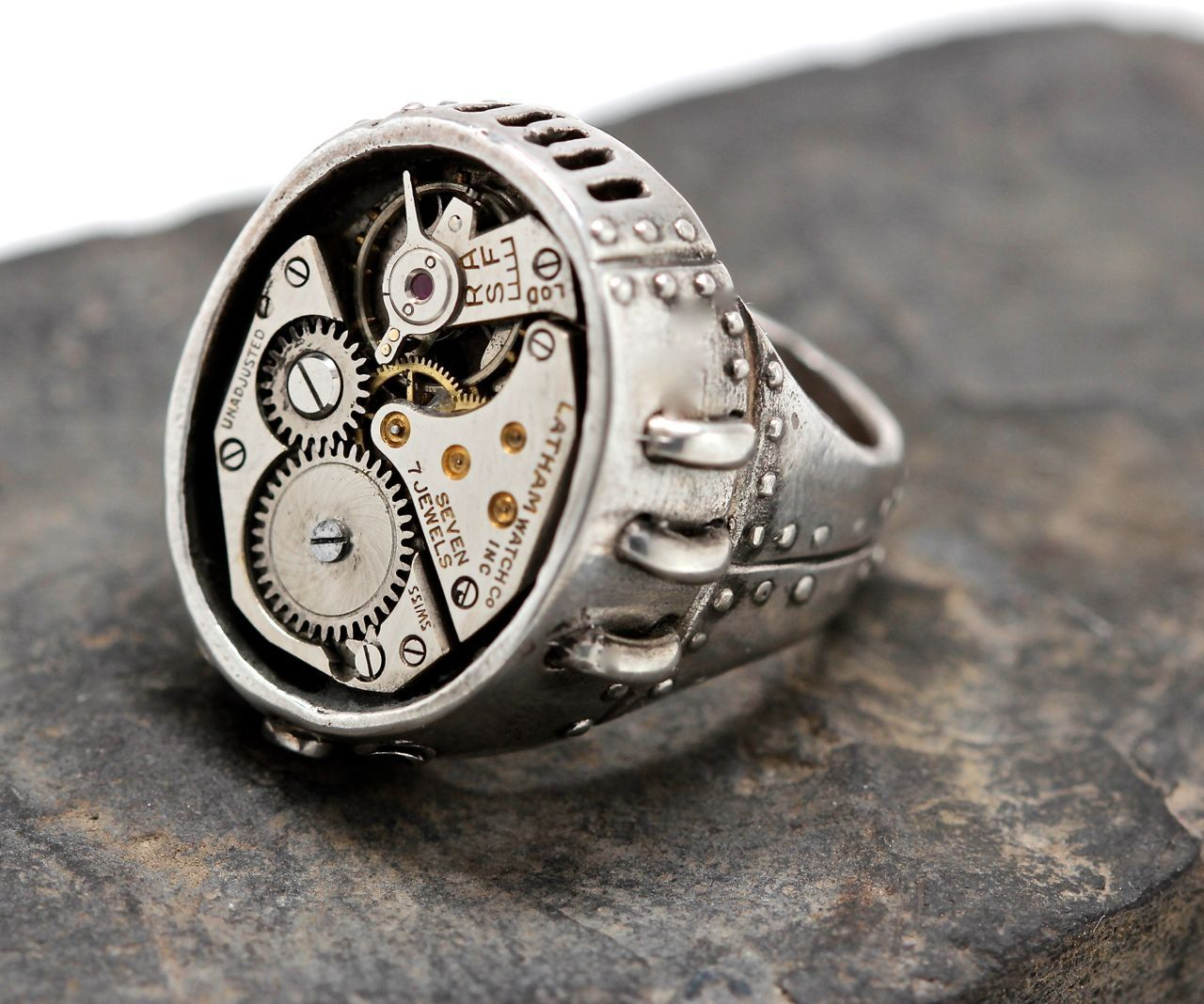Steampunk ring Watch Part Ring in white bronze | Steampunk rings ...