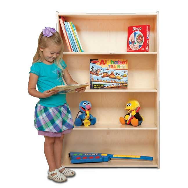 "WOOD DESIGNS \ Book Shelf (46-3/4""H).GREENGUARD Gold. Fixed shelving provides plenty of space for books; puzzles & more. 100% Plywood with mortise & secure fastener construction for exceptional strength and durability. UV Finish provides unsurpassed protection and beauty. Lifetime warranty and MADE IN THE USA. Unassembled or Assembled options available. 12""D x 46-3/4""H x 30""W."