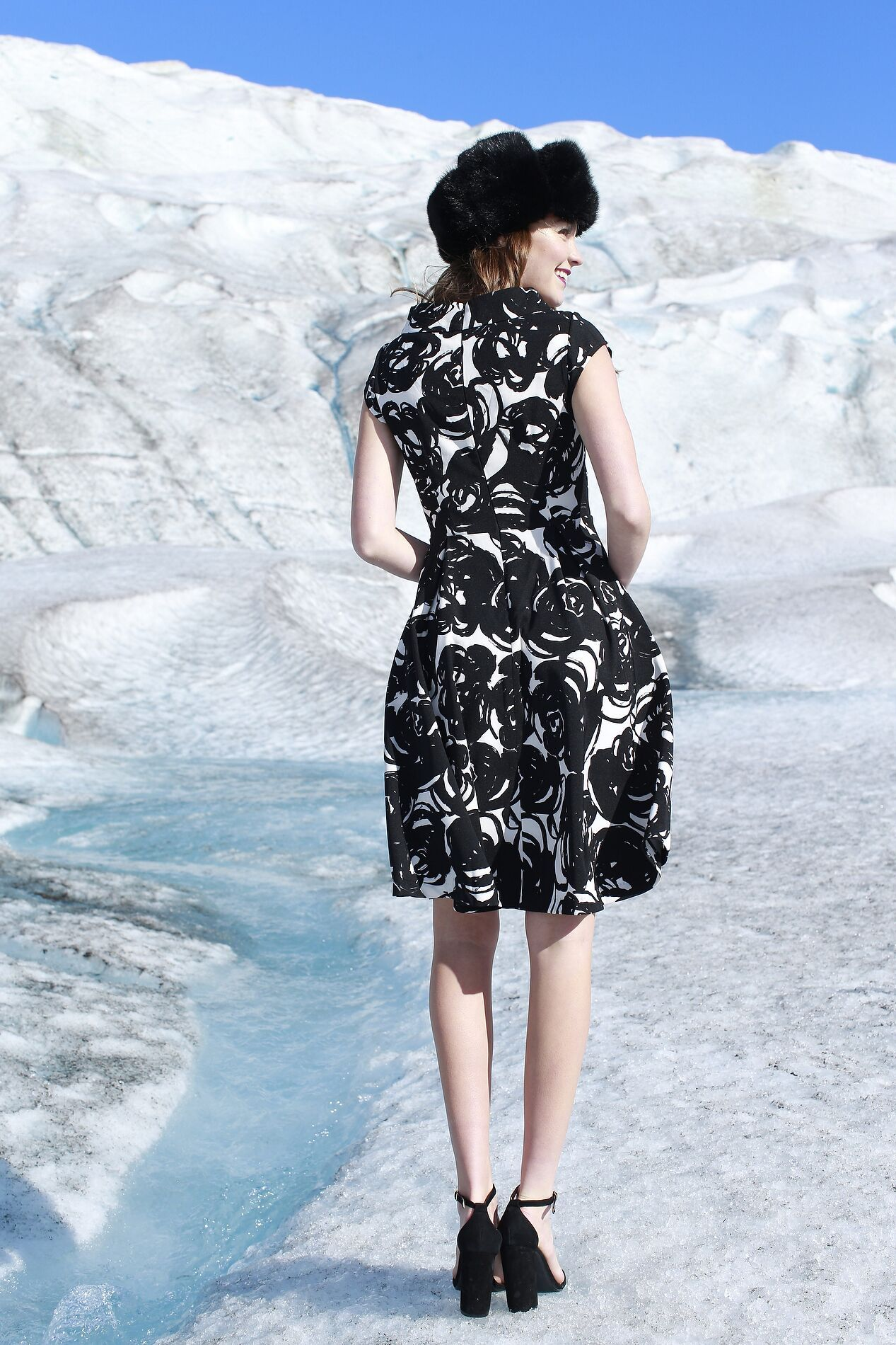 Cora dress black and white floral limited edition silver and ice