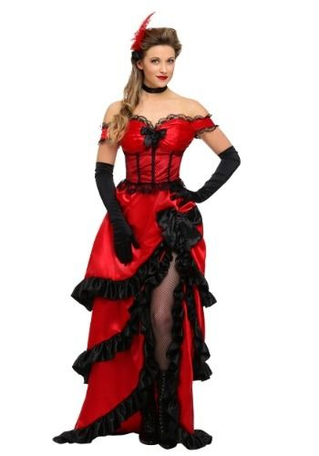 086cc10a88a This exclusive adult saloon girl floor-length dress costume is a classic  old-time western look with classy black lace and ruffle details.
