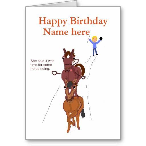 Funny Horse Joke Card Birthday Card Zazzle Com Horse Jokes Birthday Greeting Cards Happy Birthday Name