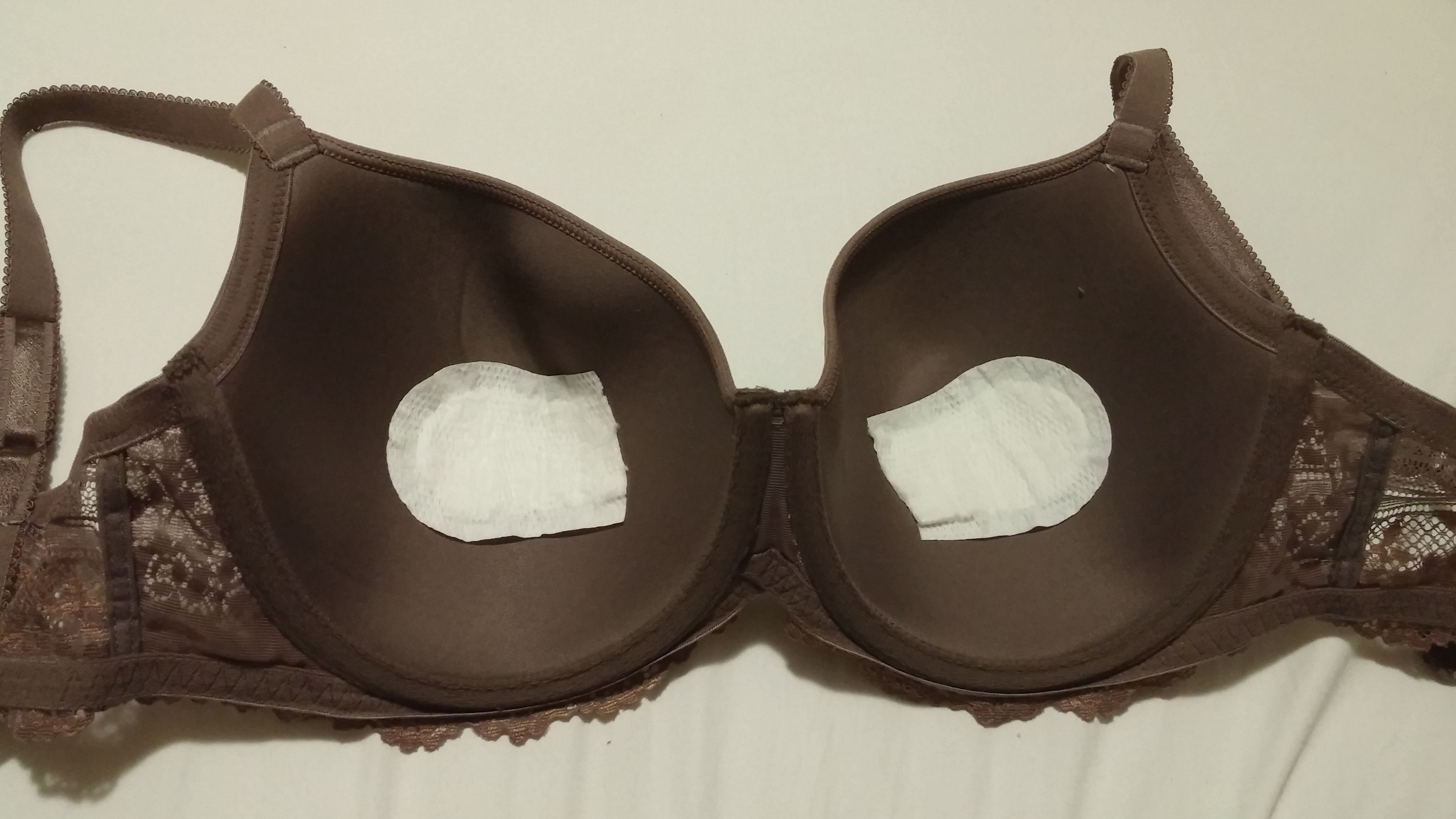 Use a pad or pantyliner inside your bra for leaking breast milk.