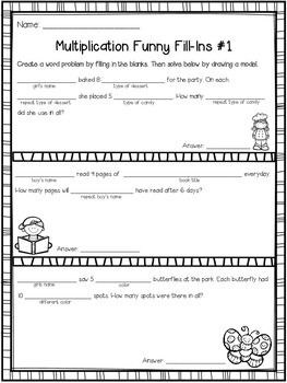 Multiplication And Division Word Problems And Funny Fill In